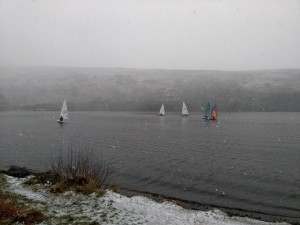 Snowy conditions but a few hardy souls still turned out for sailing.
